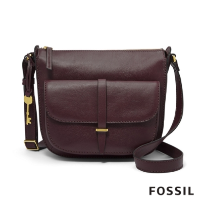 FOSSIL RYDER 真皮大側背包-無花果紫紅色 ZB7411503