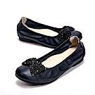 W&M 蝴蝶結串珠造型 平底娃娃女鞋-黑(另有藍)