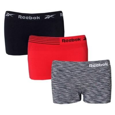 【REEBOK】Performance透氣無縫彈力女運動平口內褲三件組(黑x紅x混色)
