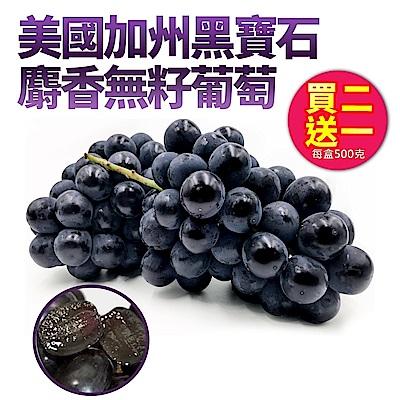 【天天果園】美國加州黑寶石麝香無籽葡萄(500g) x3盒
