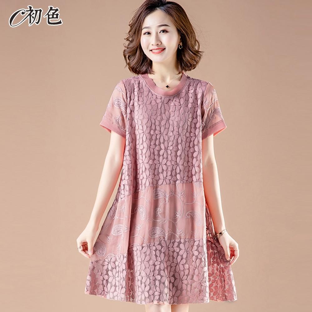 初色  花朵蕾絲連身裙-粉紅色-(M-2XL可選)