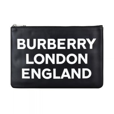 BURBERRY白字LOGO牛皮6卡拉鍊手拿包(黑)