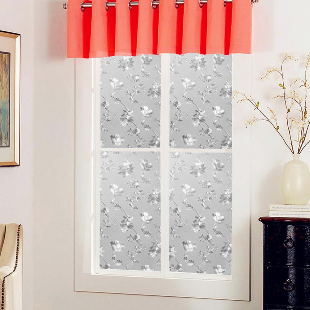 半島良品 無膠玻璃靜電貼-牡丹花 45x200cm