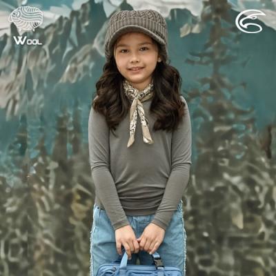 ADISI 童美麗諾混紡羊毛圓領彈性保暖衣AU2021033 / 石像灰