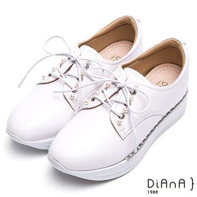 DIANA 漫步雲端厚切焦糖美人—珍珠厚底綁帶休閒鞋-白