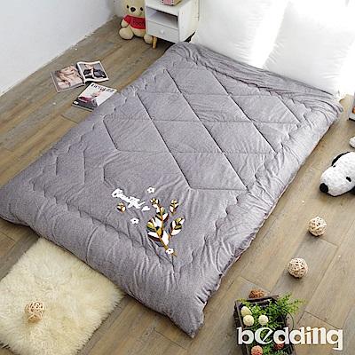 BEDDING-雙面同色水晶絨+毛巾繡花暖暖被-亮岩灰-瓊葉版