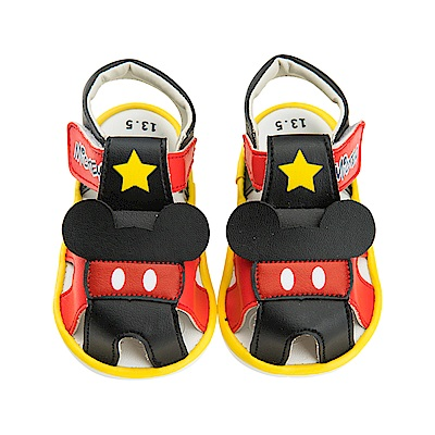 迪士尼 米奇 星星造型 寶寶嗶嗶涼鞋-紅