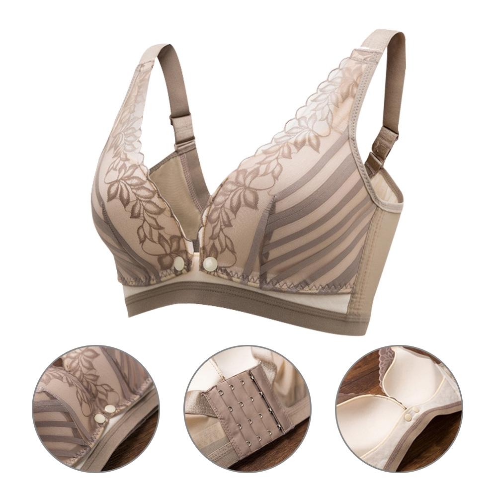 JoyNa-2件入-哺乳內衣 一片式胸罩無鋼圈蕾絲前開扣防下垂調整型餵奶衣