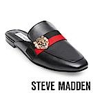 STEVE MADDEN-KARISMA 獅子飾扣真皮低跟穆勒鞋-黑色