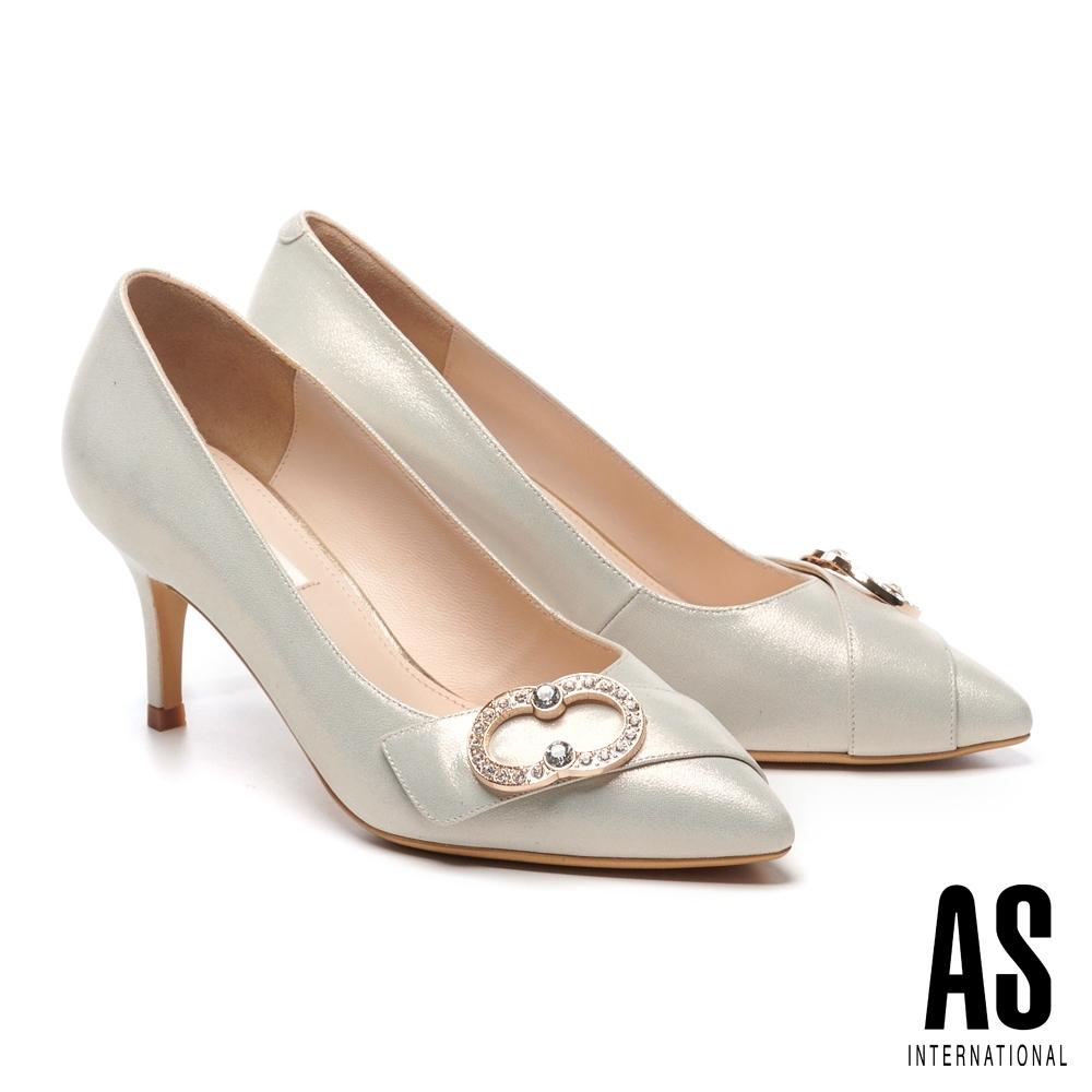 高跟鞋 AS 時尚典雅金屬鑽飾羊皮尖頭高跟鞋-金