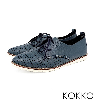 KOKKO - 花見小路真皮雕花綁帶休閒鞋-深夜藍