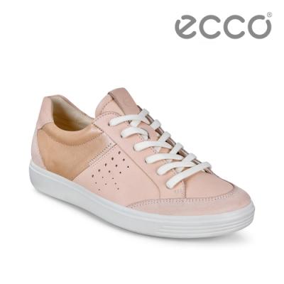 ECCO SOFT 7 W 撞色輕盈休閒鞋 女鞋 粉色