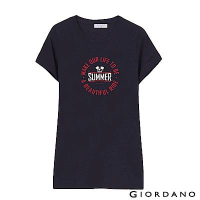 GIORDANO 女裝假期休閒印花T恤-52 標誌海軍藍