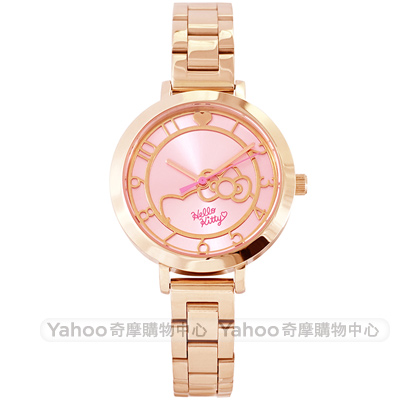 HelloKitty 凱蒂貓愛心時尚手錶-粉X玫瑰金/34mm