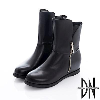 DN 魅力真皮 金屬雙拉鍊內增高造型靴-黑