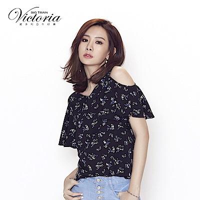 Victoria 波浪荷葉袖挖肩短袖T-女-黑色