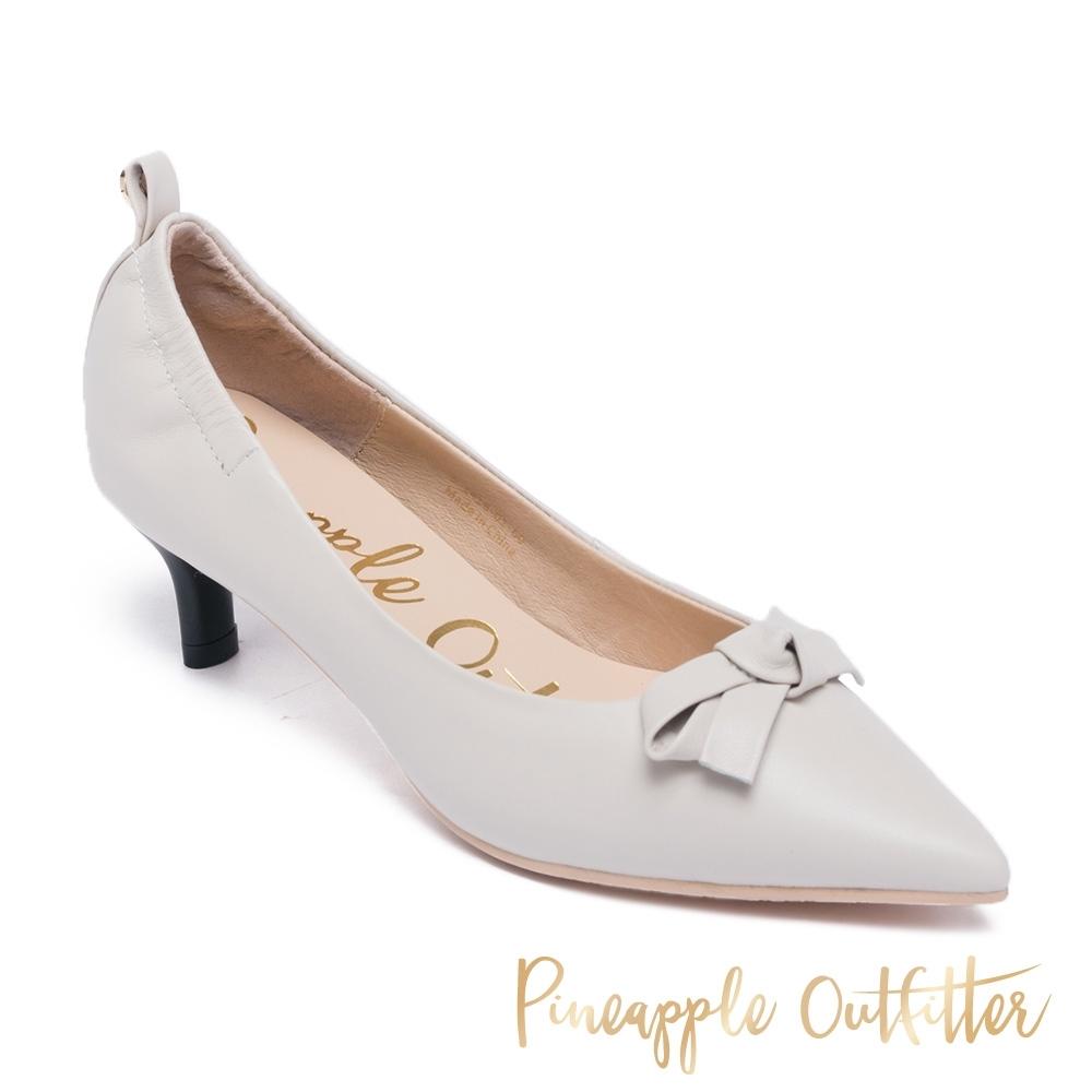 Pineapple Outfitter-GENICA 真皮蝴蝶結尖頭中跟鞋-白色