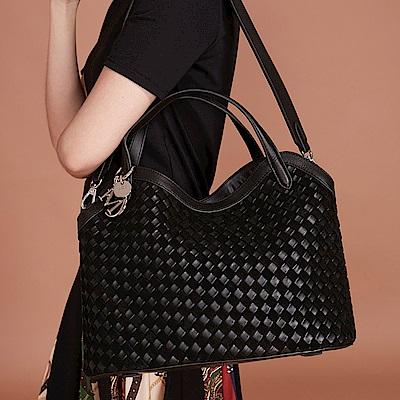 Maria Carla手提側背包-羊皮編織包_雙色特殊款_完美格調、迷漾輕時尚系列(經典黑