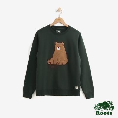 ROOTS女裝 野生動物刷毛圓領上衣 -綠