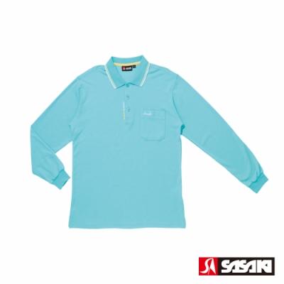 SASAKI 棉質吸濕排汗功能運動休閒長衫-男-天空藍/鵝黃