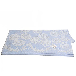 LANVIN 繽紛玫瑰蔓藤圖騰LOGO刺繡浴巾(粉藍系)