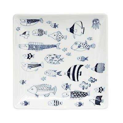 Natural69 波佐見燒 CocoMarine系列 方形淺盤 17cm 熱帶魚群