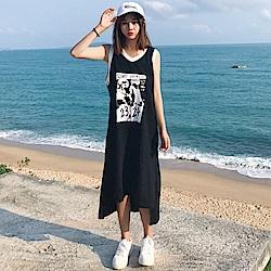 La Belleza2324黑白漫畫撞色V領滾邊側開叉長版背心裙