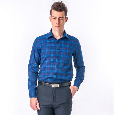 【金安德森】藍色格紋紅線厚暖窄版長袖襯衫