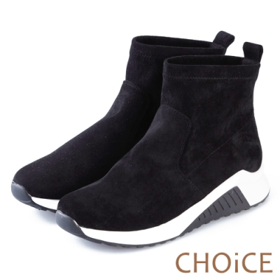 CHOiCE 舒適休閒 素色絨布厚底休閒襪靴-黑色
