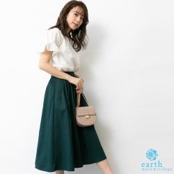 earth music 【SET ITEM】荷葉摺袖V領上衣+基本款素面長裙