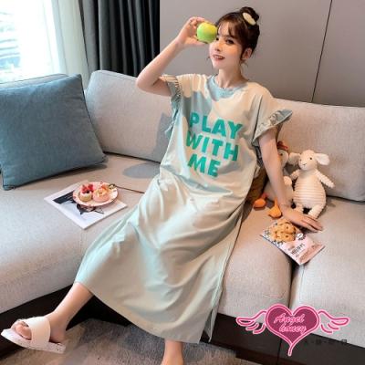 居家睡衣 字母圖案 一件式睡裙 圖騰簡約休閒居家服 (綠色F) AngelHoney天使霓裳