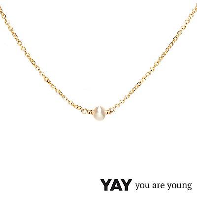 YAY You Are Young 法國品牌 Stella 珍珠項鍊 單層款 金色