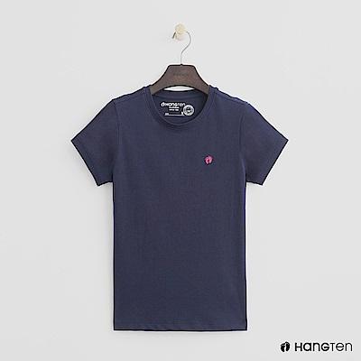 Hang Ten - 女裝 - 有機棉-logo圓領純色T恤 - 藍