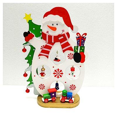 摩達客 繽紛耶誕創意DIY小擺飾木質大雪人組-白色