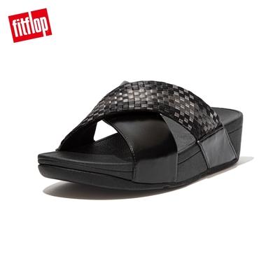 FitFlop LULU SILKY WEAVE SLIDES 經典舒適交叉雙帶涼鞋-女(黑色)