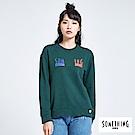 SOMETHING 青春高校 基本LOGO圓領長袖T恤-苔綠色