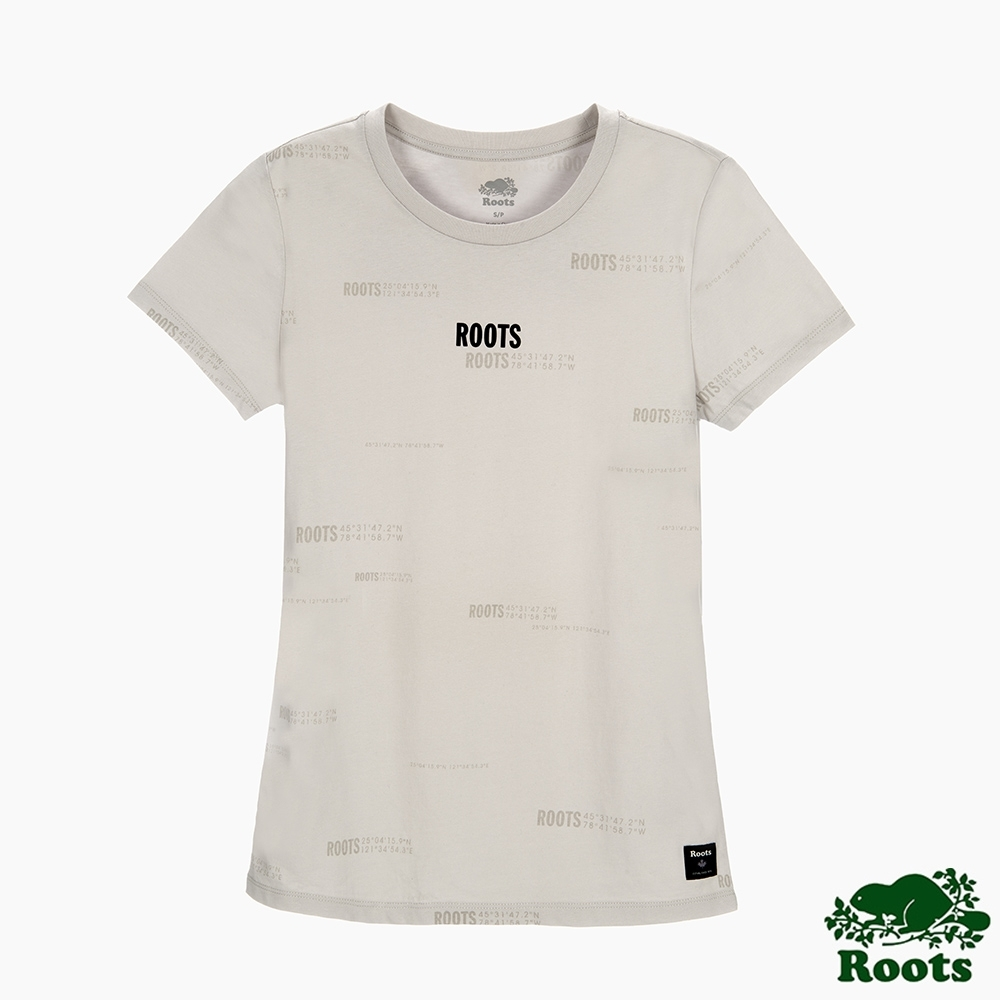 Roots女裝-旅程印記系列 滿版經緯度印花修身短袖T恤-灰色