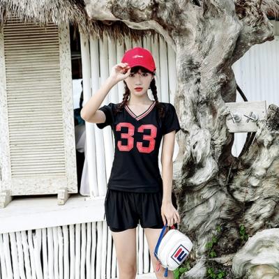Biki比基尼妮泳衣,字母運動二件式泳衣泳裝泳衣(M-XL)