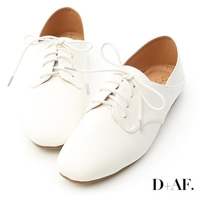 D+AF 悠閒漫步.小方頭可後踩牛津懶人鞋*白