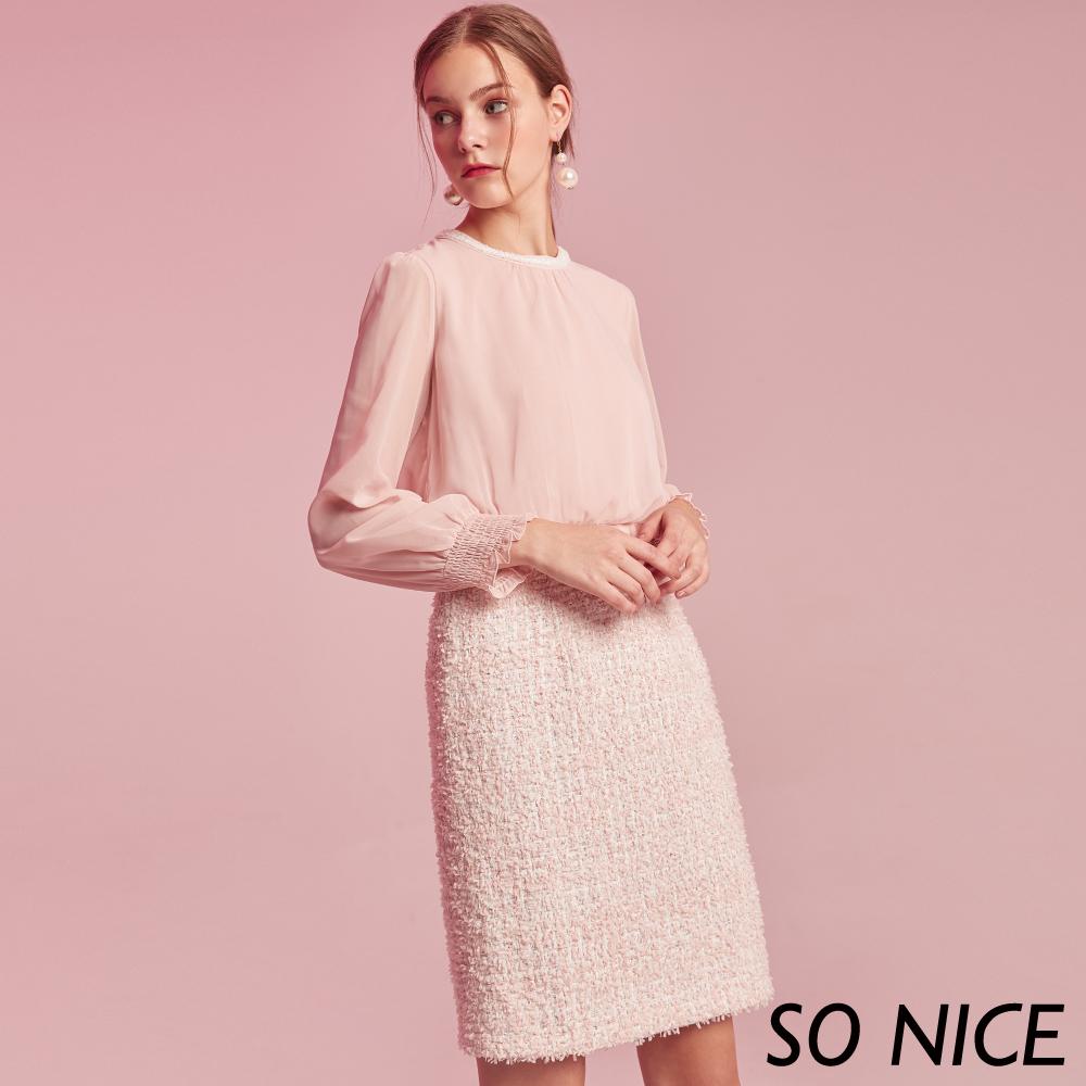 SO NICE甜美雪紡拼接粗花呢假兩件洋裝 @ Y!購物