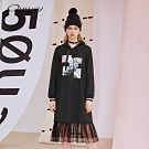 OUWEY歐薇 花卉蕾絲格紋拼接連帽長版洋裝(黑)