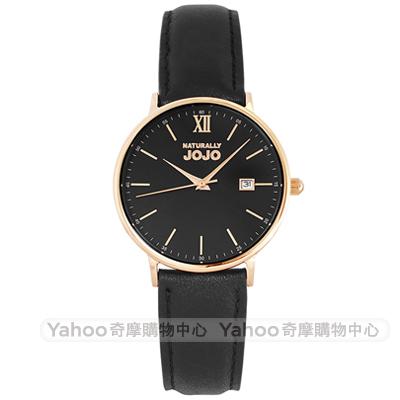 NATURALLY JOJO 簡約風尚真皮手錶女錶-黑X玫瑰金框/35mm