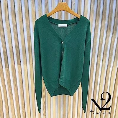 外套 正韓V領開釦長袖針織外套(綠) N2