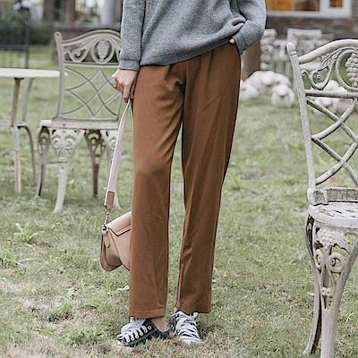 雙釦設計打褶西裝直筒褲-OB大尺碼