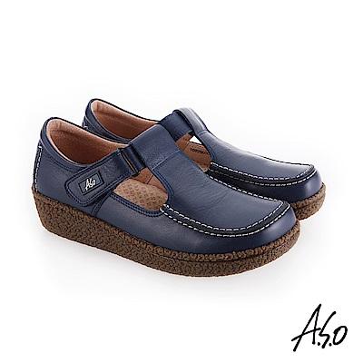A.S.O 新式復古 魔鬼氈式休閒鞋 藍
