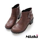 Miaki-短靴日雜暢銷低跟圓頭休閒鞋-咖啡
