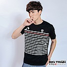 BIG TRAIN 福兔躍波條紋圓領T-男-黑色