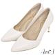 Ann'S嚮往的女人味-性感弧線柔軟小羊皮電鍍細跟尖頭高跟鞋-米白 product thumbnail 1