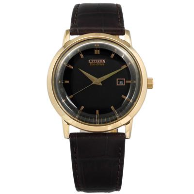 CITIZEN 星辰表 光動能日期日本機芯真皮手錶-黑x香檳金框x深咖啡/40mm
