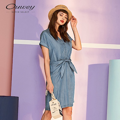 OUWEY歐薇 萊賽爾纖維蝴蝶結飾V領洋裝(藍)